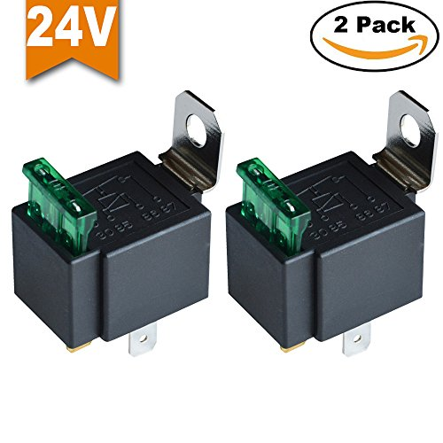Ehdis Fused Relais Ein/Aus-24V 30A Automotive 4-Pin Sicherung Montagesockel Sockel SPST Metall Normally Open Auto Motor Automobile, 2er-Pack