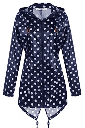 meaneor damen polk dots regenjacke regenmantel regenparka bergangsjacke funktionsjacke mit. Black Bedroom Furniture Sets. Home Design Ideas