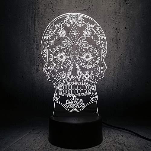 Kjfgkf @ 3D Nachtlicht Lampe Künstlerische 3D-Visualisierung Led-Lampe Gekreuzte Knochen Hologramm Kopf Nachtlicht Halloween Dekor Spielzeug Rgb