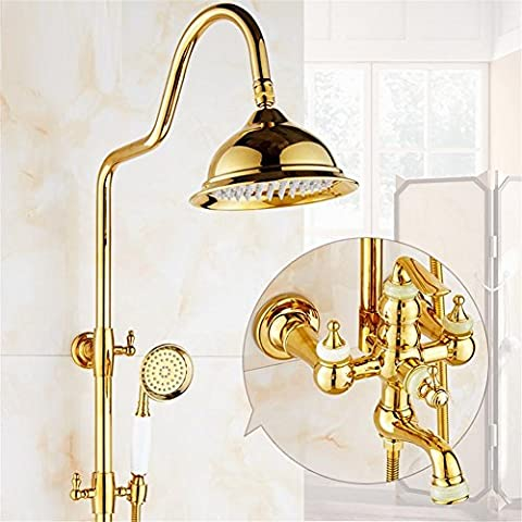 Gold Shower Set Brass Crystal Exposed Bathtub Shower Faucets Dual