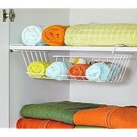 2er Set Hängekorb aus Metall Aufbewahrungs-Korb für Küchenschränke Kleiderschränke Regale Unterbauschrank Unterbau-Regal