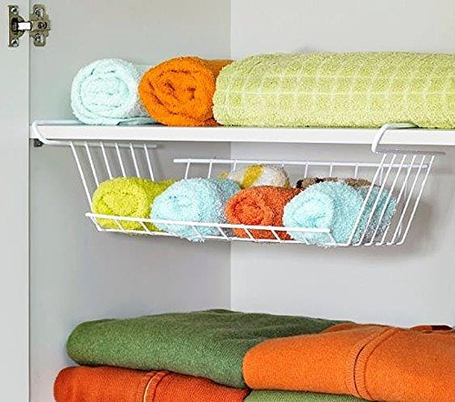 2er Set Hängekorb aus Metall Aufbewahrungs-Korb für Küchenschränke Kleiderschränke Regale Unterbauschrank Unterbau-Regal (Regal-korb-set)