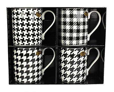 Leonardo Collection Houndstooth Textile Fine China Gift Mugs, Set Of 4