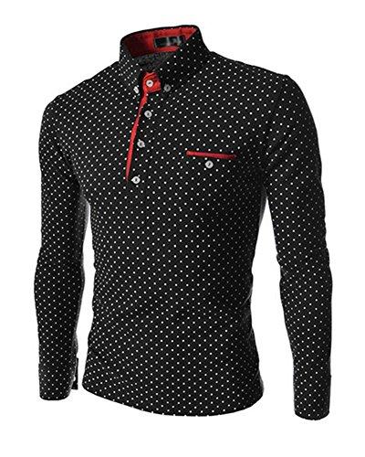 Uomo Maglietta Camicie T - Shirt Manica Lunga Sportiva Ufficio Bottoni Nero