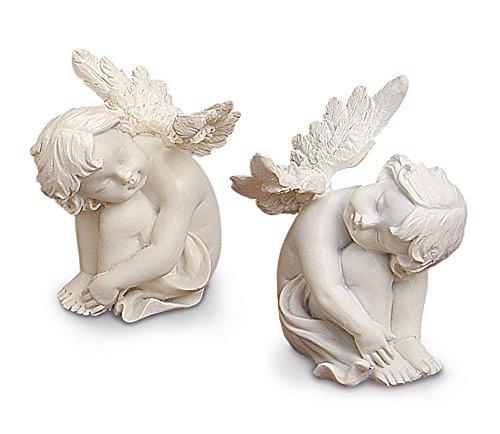 2x decorazione angelo sleeping protezione angelo seduto nel set je 8cm, in pietra, bianco crema, statuetta decorativa angelo bambini coppia angelo statuetta decorativa angelo
