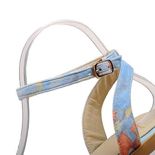 VogueZone009 Donna Punta Aperta Senza Tacco Colore Assortito Fibbia Sandali Azzurro