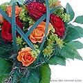 Blumenversand - Blumenstrauß - Rosenherz - Sweetheart mit roten und orangen Rosen in handgefertigter Herzform von Der Renner - Blumenversand auf Du und dein Garten