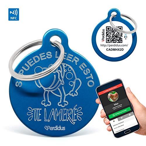 PERDIDUS Placa Identificativa para Perros Si Puedes Leer Esto te lameré con NFC y QR, 32 mm, Unisex