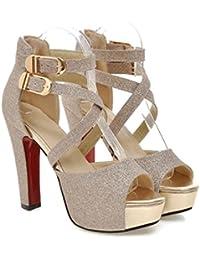 HIGHXE De las Mujeres Sandalias Tacón Alto Plataforma Peep Toe Metal Hebilla Novedad Zapatos Verano Comodidad