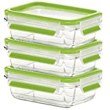Emsa Clip & Close Glas, Set, hellgrün, 3 x 0,5 L Frischhaltedose, transparent, 17,5 x 12,5 x 5,9 cm, 3-Einheiten