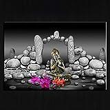 XIAOXINYUAN Wand Kunstdruck Bilder Abstrakte Stein Buddha Meditation Auf Leinwand Malerei Poster Für Wohnzimmer Wohnkultur 30X50 cm