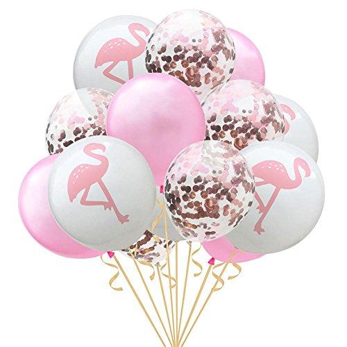 Globalqi Luftballon-Set, 15 Stück, 30,5 cm, Roségold, Flamingo, Schildkröten-Rückseite, Luftballon, Konfetti, Ballon, Hawaii-Party, Dekoration für Hochzeit, Neugeborene, Geburtstag, Party, Jahrestag B