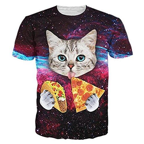 HWHColor 3d kosmische Pizza-Katzen-Hemd Galaxie-Grafik-T-Stück für Juniors (Sport-grafik-t-stücke 1)