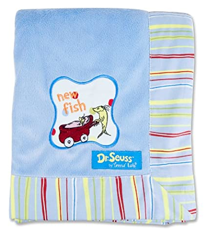Trend Lab Dr. Seuss Stripe Frame Receiving Blanket, One Fish
