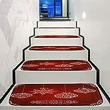 Junjie Weihnachtsdekoration Step Basic Rutschfeste Korallenvlies 5PC Treppenmatte Fleece Beständig Teppich Treppe Gedruckte Treppenmatte Bodenmatte 22 * 70cm