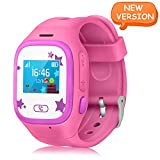 Smart Watch Kids, Witmoving Touch Screen Childrens Smart Watch GPS Tracker Watch Phone Sim Anti-lost SOS Wrist Watch Parent Control By IPhone IOS Android Smartphone for Boys Girls (Pink)