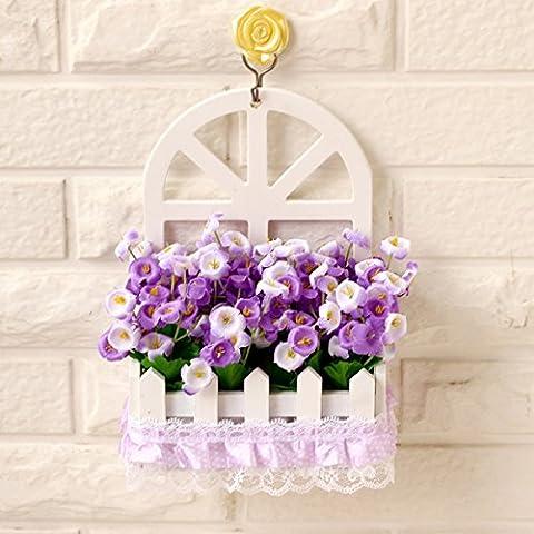 Fiore di emulazione montaggio a parete parete decorazione cesti floreali kit floreali false piante fiorite in stile Europeo di soggiorno ornamenti di legno ,15*7,5*22cm,6