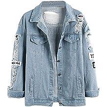 Wvsender Damen Casual Jeansjacke mit Patches Blouson Knopfverschluss  Cut-Outs Denim Jacket Jeans-Jacke 1936e71bb6