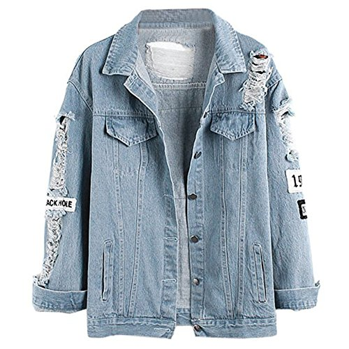 Damen Casual Jeansjacke mit Patches Blouson Knopfverschluss Cut-outs Denim Jacket Jeans-Jacke (EU 44(XL), Blau)