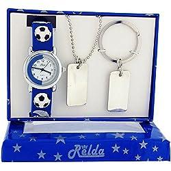 Relda Boys - Kids Football Watch, Dog Tag Necklace & Keyring Gift Set REL49
