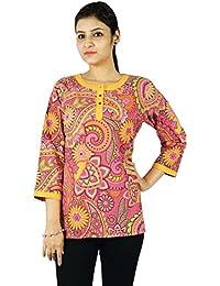 70e964fec19b4e KOKOM Gedruckt Kurta Indische Designer Frauen Ethnischen Kurti Baumwolltop  Tunika-Kleid