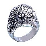 ForFox Anillo de Cabeza águila Animal de Plata de Ley 925 sólida Negra para Hombres Mujeres Talla 20