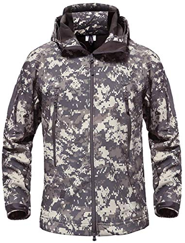 HAINE Männer Outdoor Klettern Winddicht Tactical Soft Shell Jacke Fleece Kapuzenmantel ACU UK L (Fit Brust 39