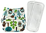 Bumberry Reusable Diaper Cover and 2 Wet Free Inserts (3-36 Months) (Trees) (Multicolor)