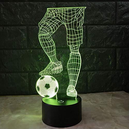 (Magie 3D Fußball Touch Tischlampe 7 Farben Schreibtischlampe USB Powered Night Lampe Fußball LED Licht Schlafzimmer Dekoration)