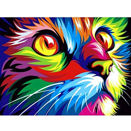 51IKAH8VngL BEST BUY #15D Diamond Cat Embroidery Painting Animal Rhinestone Cross Stitch Decor DIY (Multicolor B) price Reviews uk