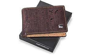 natventure® Mini Geldbeutel aus Korkleder mit RFID Schutz, Portemonnaie Männer, kleine Geldbörse ohne Leder, Ökologisch & Vegan, Braun & Schwarz inkl. Geschenkverpackung