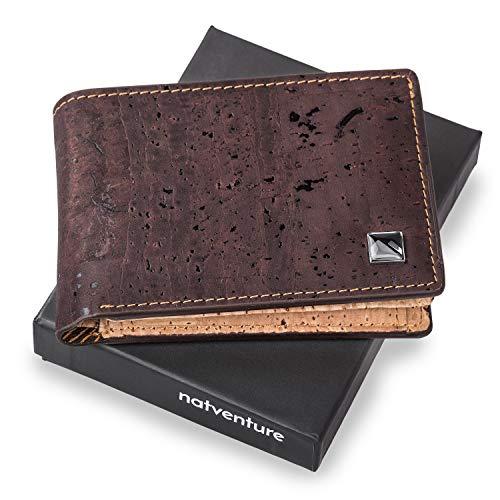 natventure® Geldbörse Herren Klein mit Münzfach - Ökologisch & Vegan - Männer Geldbeutel Portmonaise aus Kork Leder - Mini Slim Karten Portemonnaie - braun -