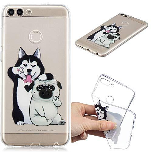 Nadoli Transparent Hülle für Huawei Y7 2018,Komisch Hund Malerei Muster Crystal Kirstall Ultra Dünn Durchsichtige Schutzhülle Bumper für Huawei Y7 2018,Komisch Hund