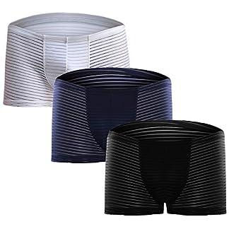 Ropa Interior Transpirable Pack de 3 Bóxer 3 Piezas Calzoncillos a Rayas Elástico Slips Transparente Bolsa U Convexa Cómodo Sexy para Hombre