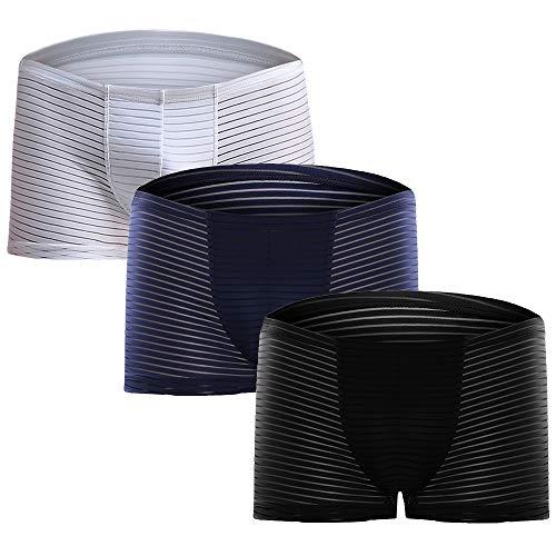Litthing Herren EIS-Seide Lace Mesh Boxershorts U konvex Dreidimensionales Design Transparente Atmungsaktive Unterhose 1 Schwarz + 1 Dunkelblau + 1 Weiß (3XL) -