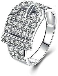 Aooaz Gioielli anello fascia anello fidanzamento anello argento sterling Cintura Argento anelli donna anello zirconi