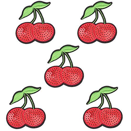 Lumanuby 5 Stück Pailletten Aufbügler Glänzende Mode Obst Embroidery Patch Aufnäher Serie (Kirsche) - 5 Stück Kirsche