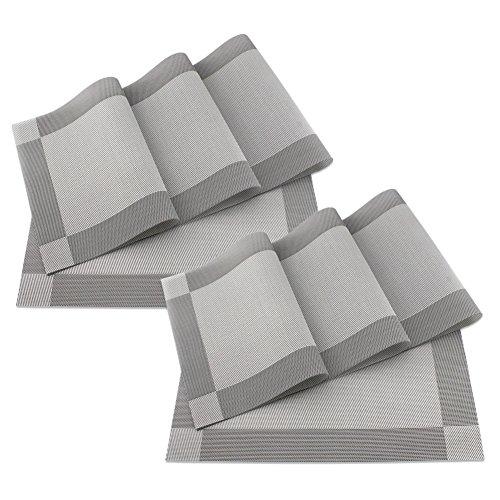 SueH Design Gewebte Platzsets/Tischsets 8er Set Vinyl 45 * 30 CM Grau