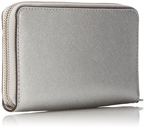 Michael Kors - Borsa Jet Set Travel Flat multifunzione da donna con cover per smartphone, porta carte e documenti, taglia unica Argento (Silver)