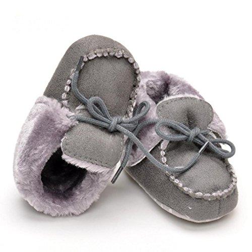 BZLine® Baby Mädchen weichen Sohle Krippe warme Baumwolle Stiefel Grau