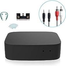 Bluetooth ab V4,0 Receiver Adapter, SAWAKE 2 in 1 Bluetooth A2DP / AVRCP Transmitter Empfänger aptX Low Latency tragbare Bluetooth Audiogeräte ohne Treiber, mit 3,5 mm AUX & RCA Kabel verbindet mit 2 Geräten für Heim, HiFi stereoanlage / Audiogeräte, KFZ Autoradio, Kopfhörer, TV, PC, Lautsprecher, Handy usw. Schwarz