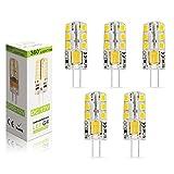 Elinkume 5X G4 LED Light Bulbs 4 Watts 24 SMD 2835 Super Bright LED Lamps with Beautiful Warm White Colour(3000K)AC/DC12V