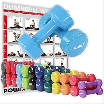 POWRX - Mancuernas Vinilo 14 kg Set (2 x 7 kg) + PDF Workout