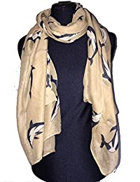 Pamper Yourself Now Beige Whales Long Soft Scarf