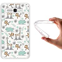 Funda Alcatel One Touch Pop C9, WoowCase [ Alcatel One Touch Pop C9 ] Funda Silicona Gel Flexible AnimalesGirafa, Mono Y Rinoceronte, Carcasa Case TPU Silicona - Transparente