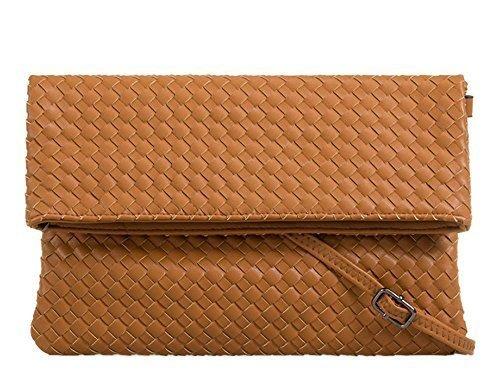 Haute für Diva's NEU Damen verstellbarer Gurt gefalteter geflochten Kunstleder Schulter Handtasche - Beige, Large Hellbraun