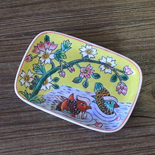 Keramik Seifenschale, Original Design Handmade Mini Rechteckige Multifunktionale Storage Hand Bemalt Mandarin Ente Und Blumen Auf Gelb Retro Antiken Ländlichen Stil Kreative Vintage Modern Home Deko -