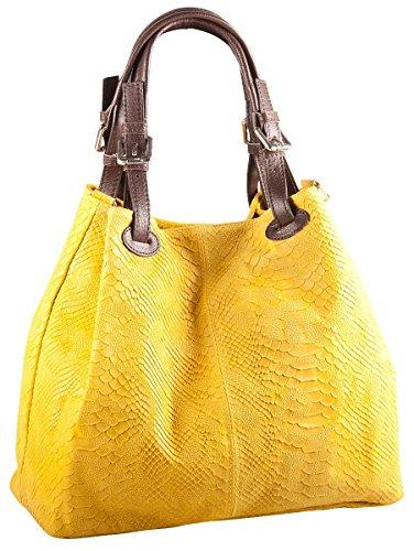 Pelle Italy Damen Henkeltasche Leder mit Prägung 32x28x16 cm (BxHxT), Farbe:Gelb Gelb