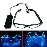 ERGEOB Light Up El Draht Brillen für Party Bar Club EL Augenbrille für Festivals Tanz blau