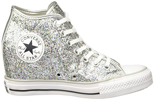 CONVERSE ALL STAR MID LUX GLITEER SILVER Argento